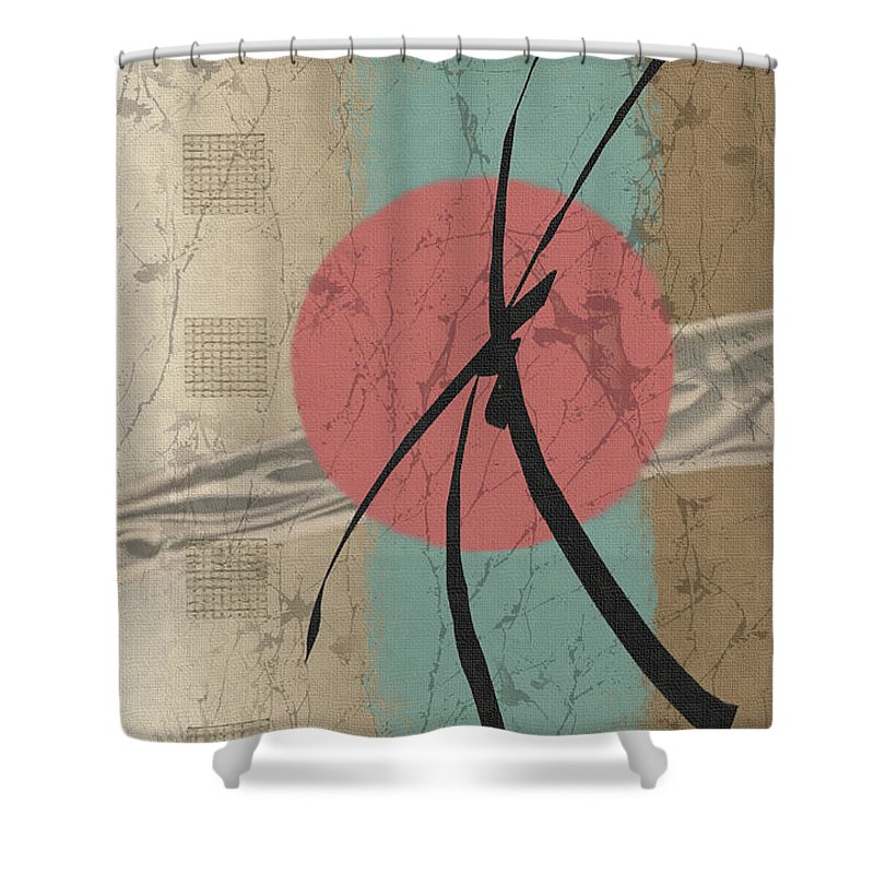 Contemporary Asian Japanese Oriental Abstract Sun Sunrise Sunset G Shower Curtain featuring the painting Daybreak by Gordon Beck