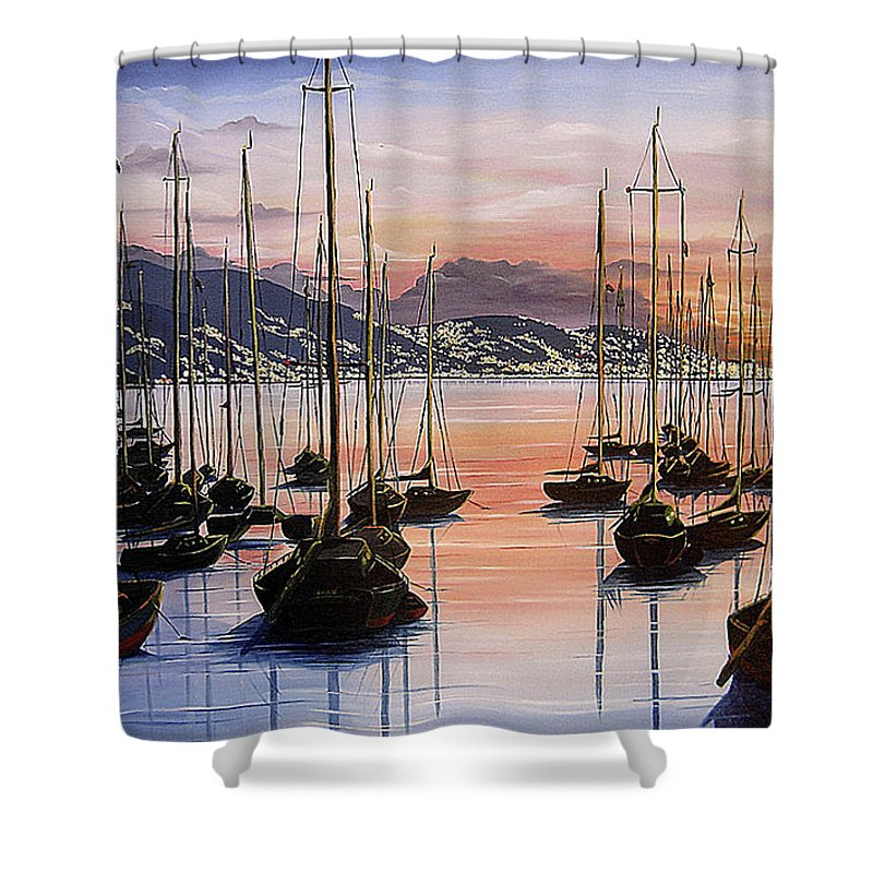 Seascape Painting Yacht Painting Harbour Painting Port Of Spain Trinidad And Tobago Painting Caribbean Painting Tropical Seascape Yachts  Painting Boats Dawn Breaking Greeting Card Painting Shower Curtain featuring the painting Daybreak by Karin Dawn Kelshall- Best