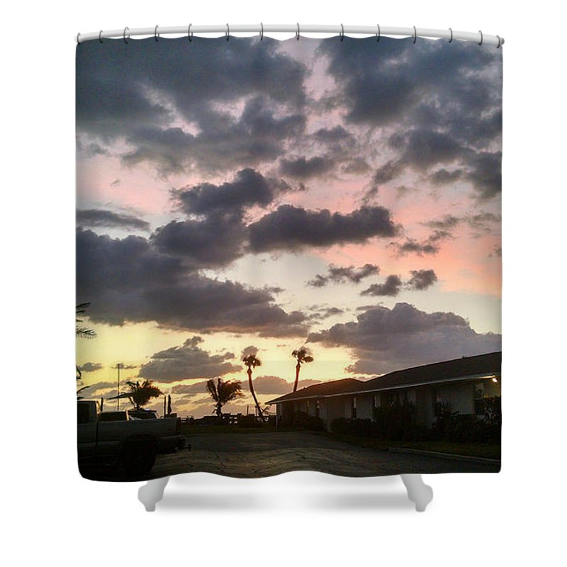 Dappled Sky Shower Curtain featuring the photograph Daybreak Sky In Florida by Frank Kopet