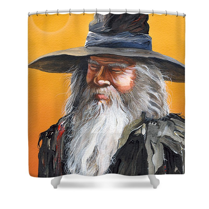 Fantasy Art Shower Curtain featuring the painting Daydream Wizard by J W Baker