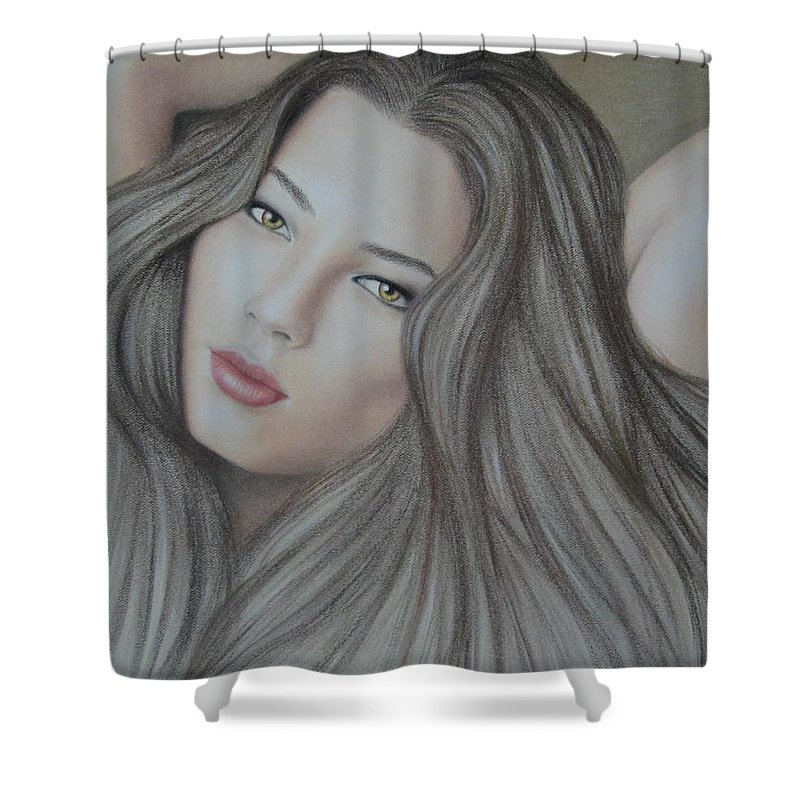 Woman Shower Curtain featuring the painting Daydreaming by Lynet McDonald