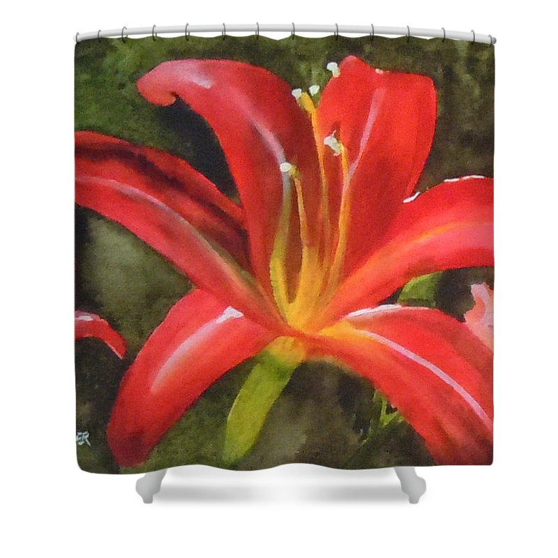 Red Shower Curtain featuring the painting Daylily Study IV by Jean Blackmer