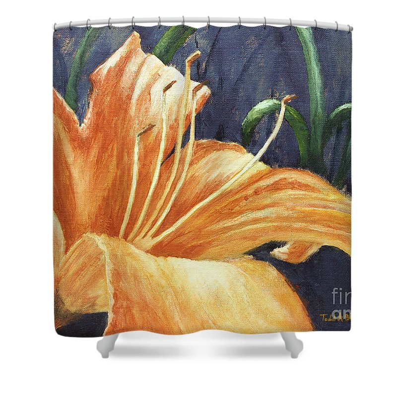 Flower Shower Curtain featuring the painting Daylily by Todd Blanchard