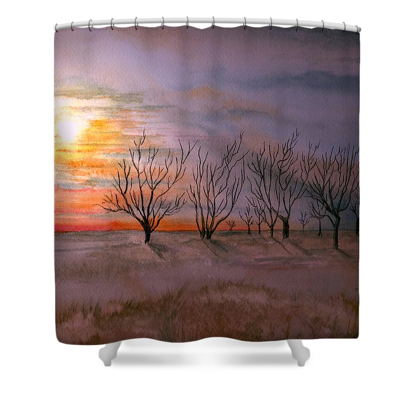 Watercolor Landscape Sundown Sunset Sky Trees Scenic Scenery Nature Clouds Shower Curtain featuring the painting Day's End by Brenda Owen