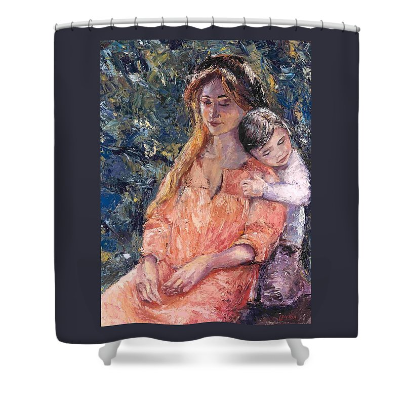 Mother And Son Shower Curtain featuring the painting Days End by Janet Lavida