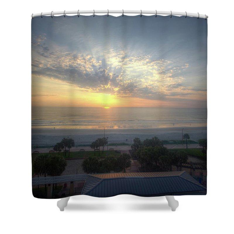 Daytona Beach Shower Curtain featuring the photograph Daytona Beach Sunrise by Monica Wellman