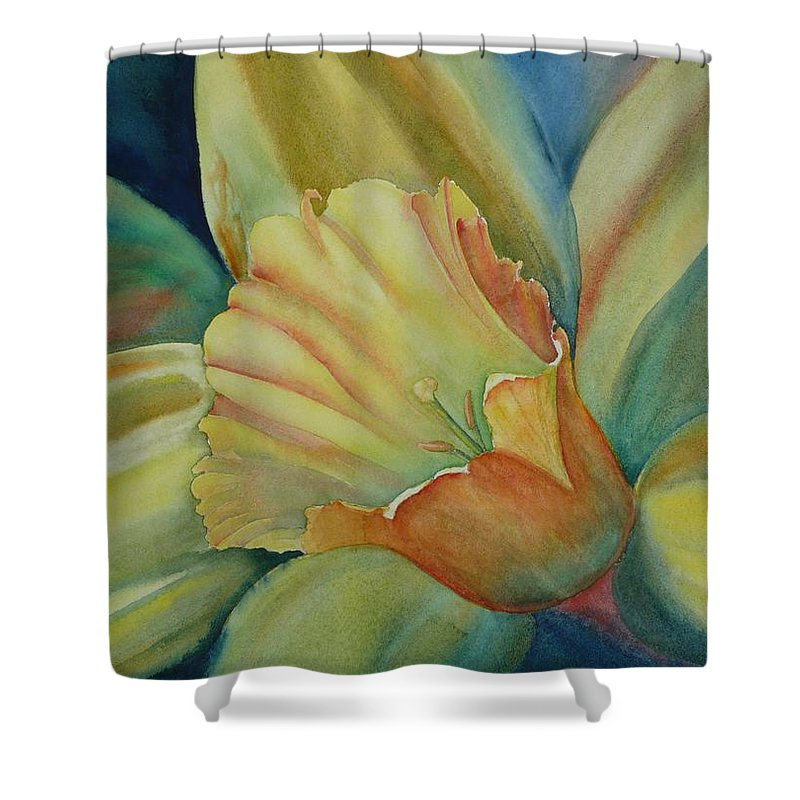 Flower Shower Curtain featuring the painting Dazzling Daffodil by Ruth Kamenev