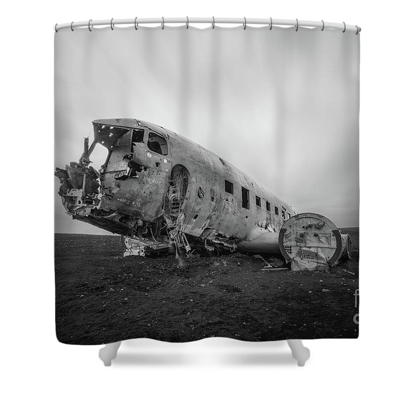 Crashed Landed Shower Curtain featuring the photograph Dc 3 Passing Time Bw by Michael Ver Sprill