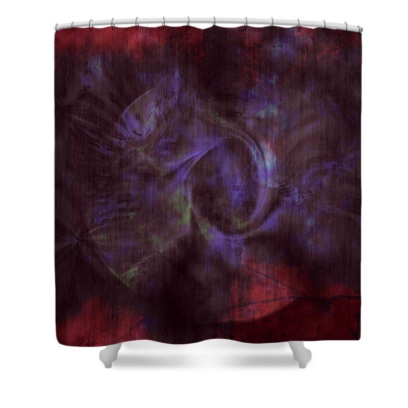 Abstract Art Shower Curtain featuring the digital art Dead Cities by Linda Sannuti