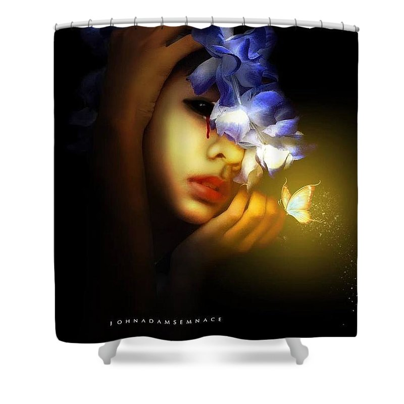 Darkart Shower Curtain featuring the photograph Dead Fairy by John Adams Emnace