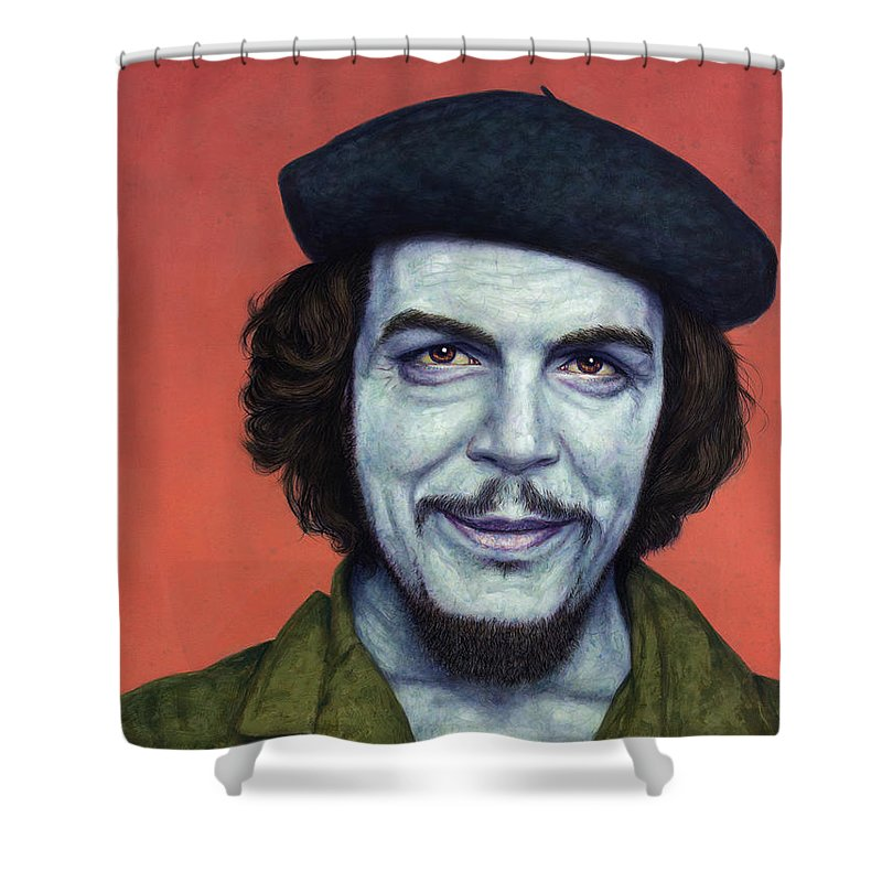 Che Shower Curtain featuring the painting Dead Red - Che by James W Johnson