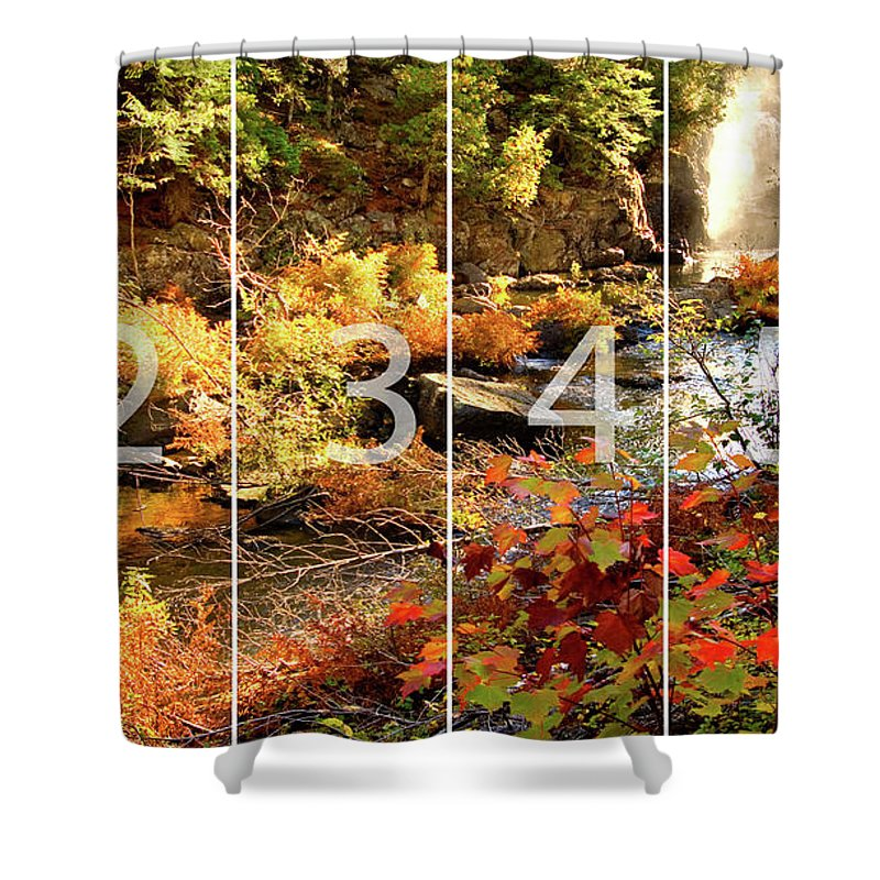 Dead River Falls Shower Curtain featuring the mixed media Dead River Falls Marquette Michigan Panoramic Map by Michael Bessler