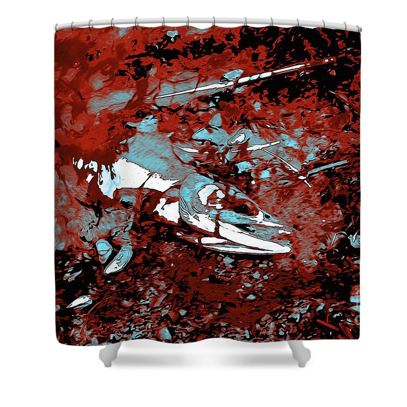 Dead Salmon 4 Shower Curtain featuring the digital art Dead Salmon 4 by Chris Taggart