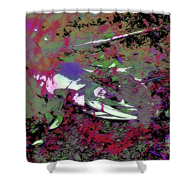 Dead Salmon 6 Shower Curtain featuring the digital art Dead Salmon 6 by Chris Taggart