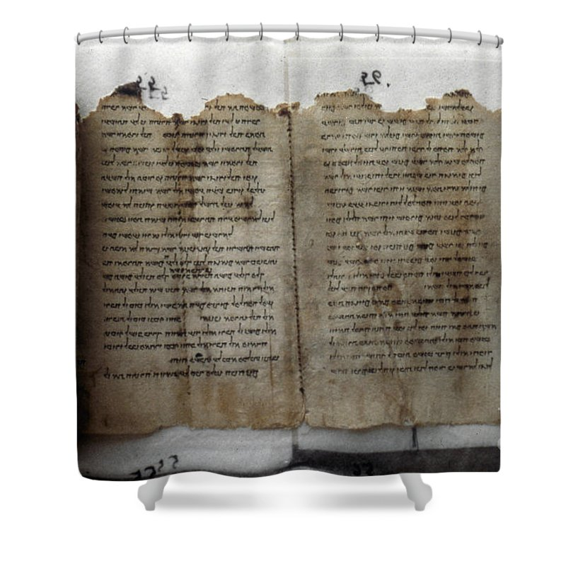 1st Century B.c. Shower Curtain featuring the photograph Dead Sea Scroll by Granger