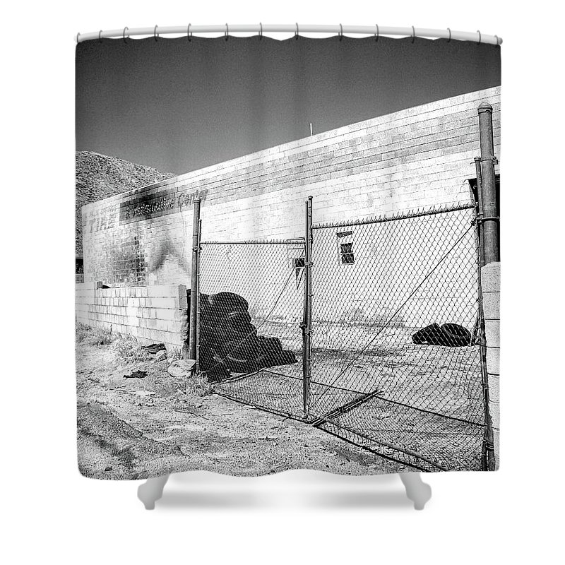 Industrial Desert Shower Curtain featuring the photograph Dead Tires Palm Springs by William Dey
