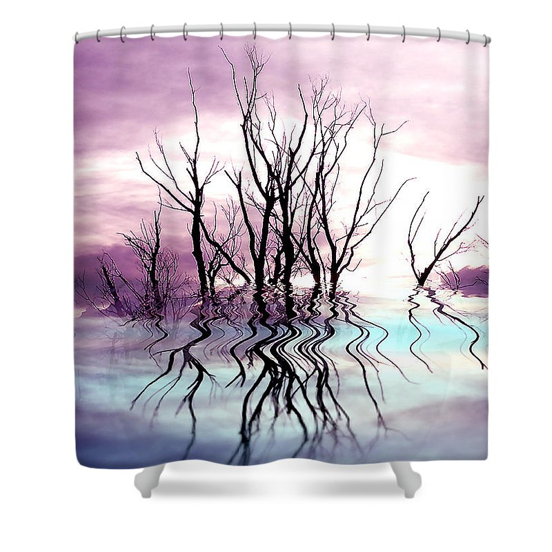 Photo Artwork Shower Curtain featuring the photograph Dead Trees Colored Version by Susan Kinney
