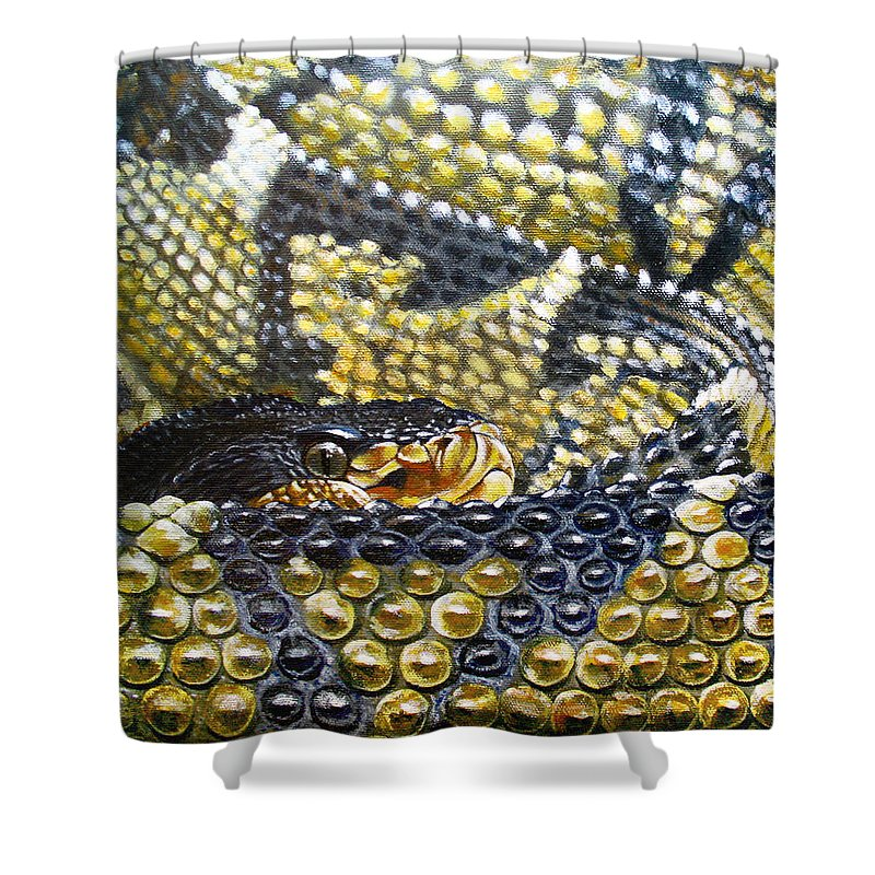 Snake Shower Curtain featuring the painting Deadly Details by Cara Bevan