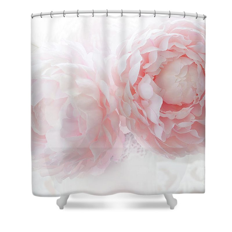Pink Shower Curtain featuring the photograph Dreamy Shabby Chic Baby Pink White Pastel Peonies - Romantic Baby Pink Peonies Decor by Kathy Fornal