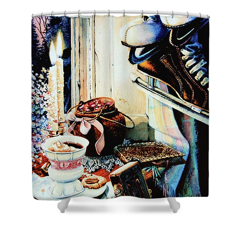 Figure Skates Shower Curtain featuring the painting Dear Diary by Hanne Lore Koehler