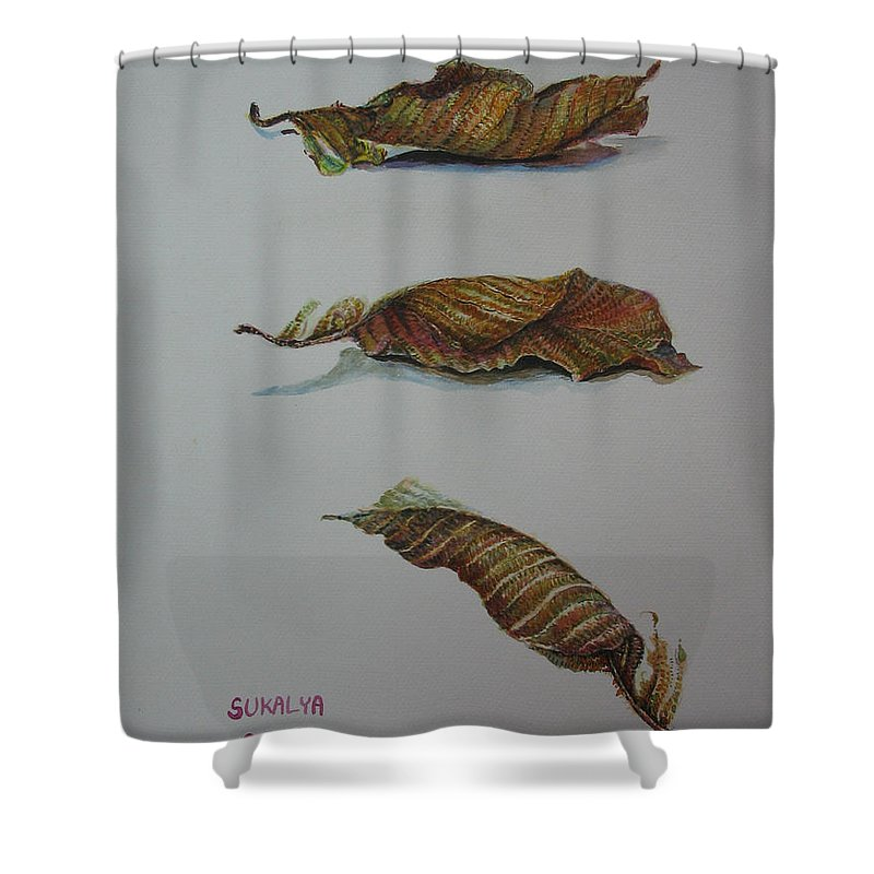 Leaf Shower Curtain featuring the painting Death Leaf Walking by Sukalya Chearanantana
