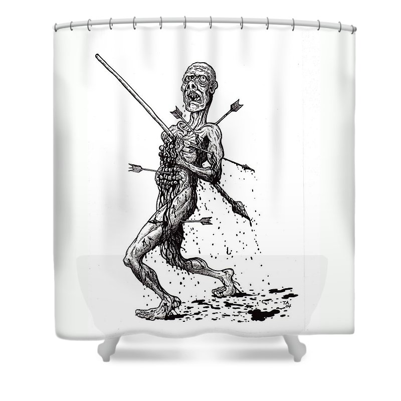 Dark Shower Curtain featuring the drawing Death March by Tobey Anderson