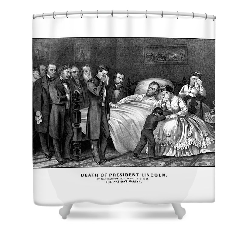 Abraham Lincoln Shower Curtain featuring the drawing Death Of President Lincoln by War Is Hell Store