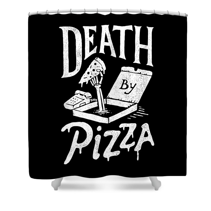 Pizza Shower Curtain featuring the drawing Death Pizza by Tatak Waskitho