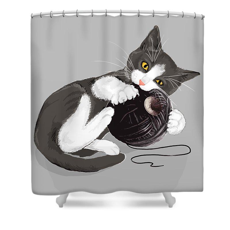 Death Star Shower Curtain Featuring The Digital Art Kitty By Olga Shvartsur