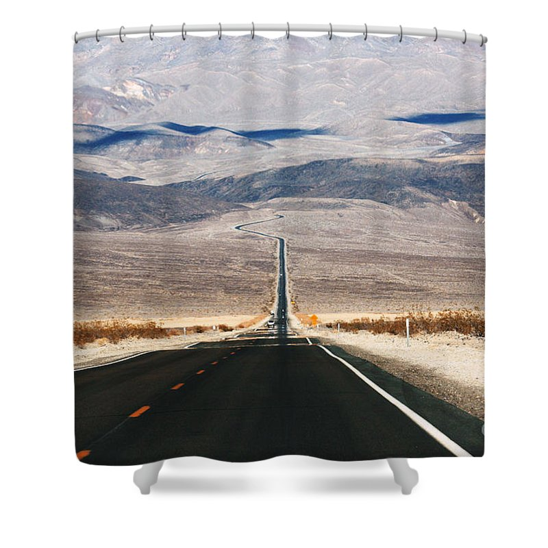 Death Valley Shower Curtain featuring the photograph Infinity Road by William Petri