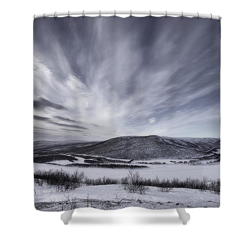 Landscape Shower Curtain featuring the photograph Deatnu Valley Scenery by Pekka Sammallahti