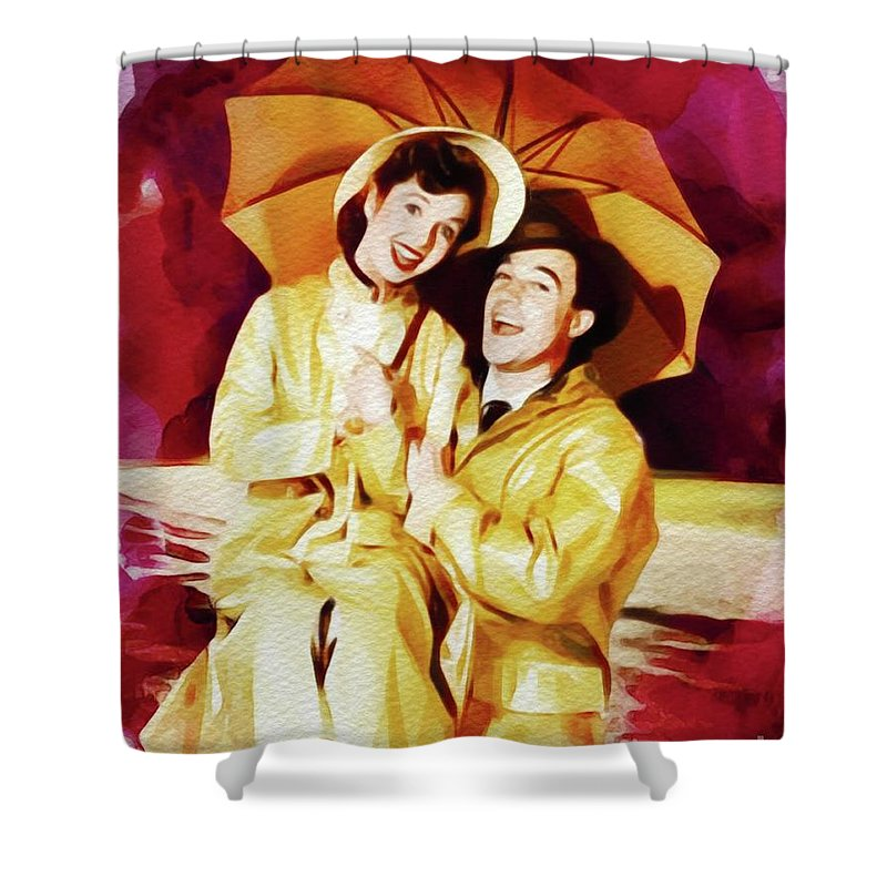 Debbie Shower Curtain Featuring The Painting Reynolds And Gene Kelly In Singing Rain