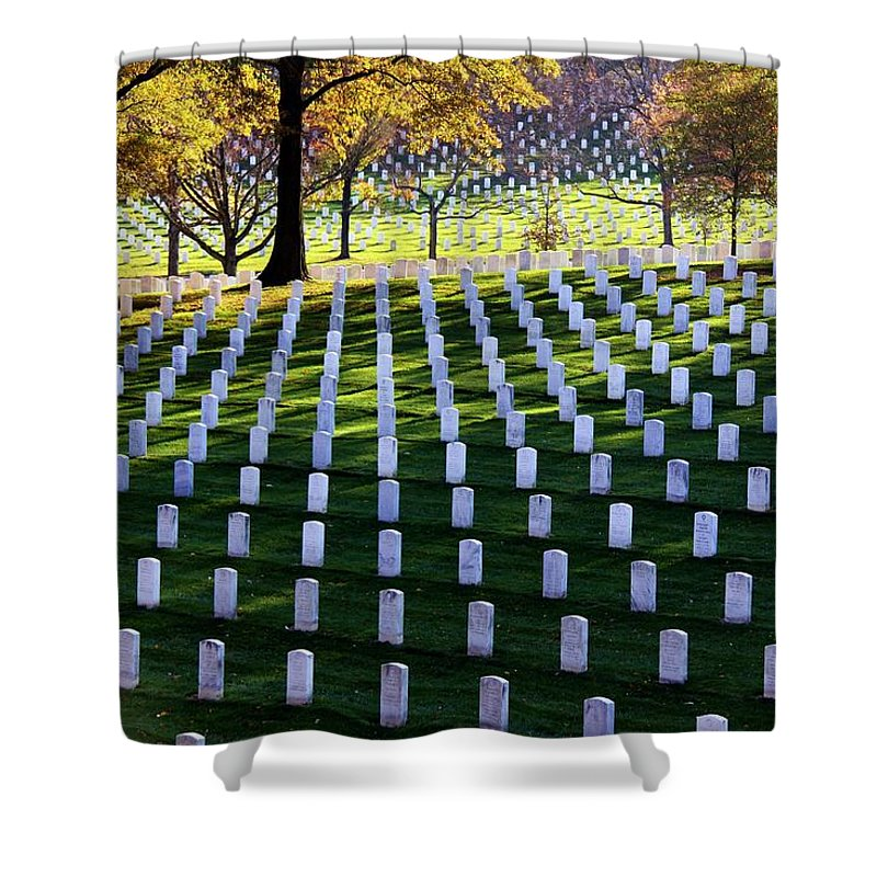Cemetery Shower Curtain featuring the photograph Debt Of Gratitude by Mitch Cat