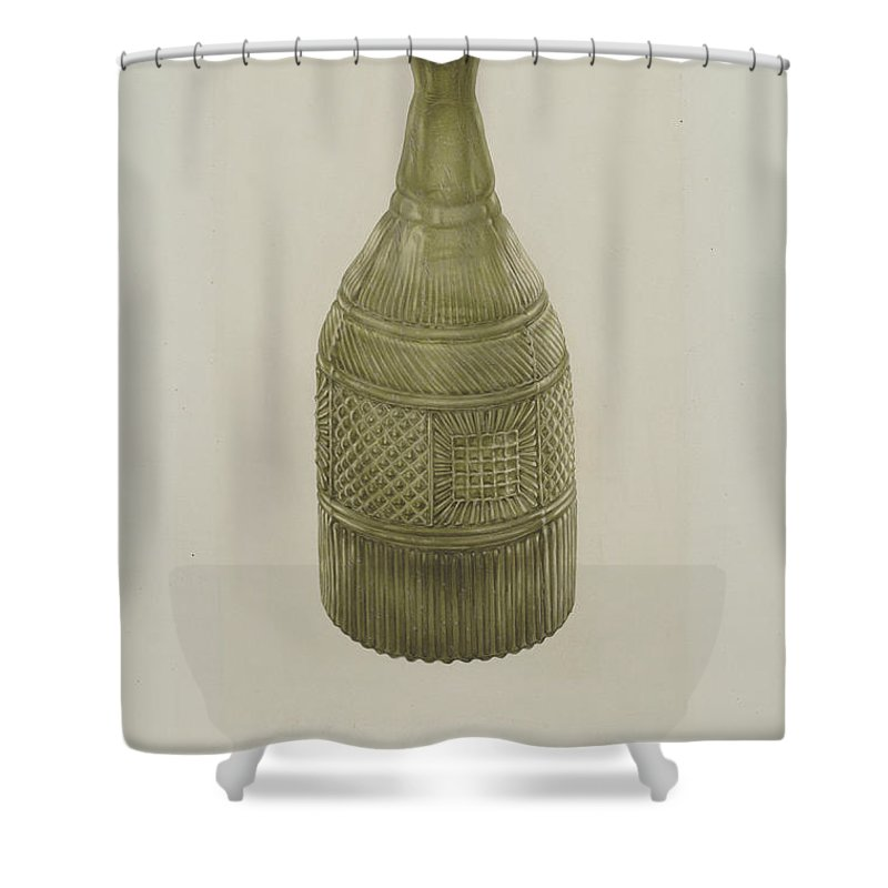 Shower Curtain featuring the drawing Decanter by Van Silvay