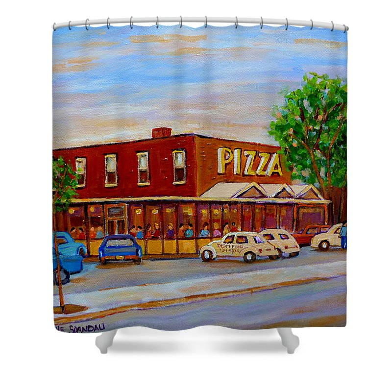 Tasty Food Pizza Shower Curtain featuring the painting Decarie Tasty Food Pizza by Carole Spandau