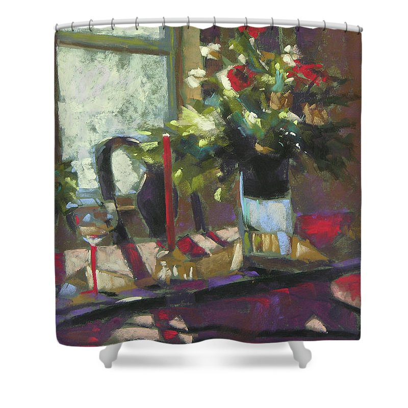 Christmas Shower Curtain featuring the painting December Morning Light by Mary McInnis
