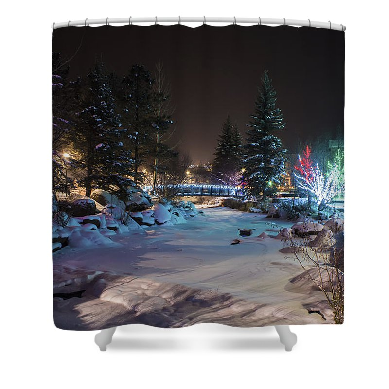Estes Park Shower Curtain featuring the photograph December On The Riverwalk by Perspective Imagery