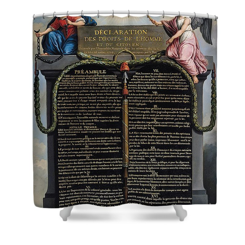 Declaration Shower Curtain featuring the painting Declaration Of The Rights Of Man And Citizen by French School