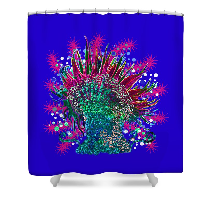 Anemone Shower Curtain featuring the digital art Deco Anemone by Adria Trail