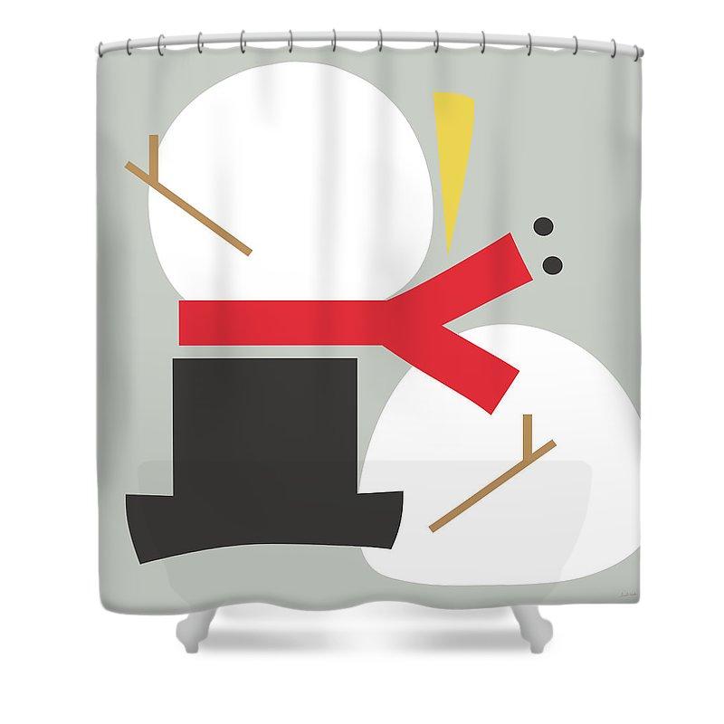 Snowman Shower Curtain featuring the digital art Deconstructed Snowman- Modern Art By Linda Woods by Linda Woods