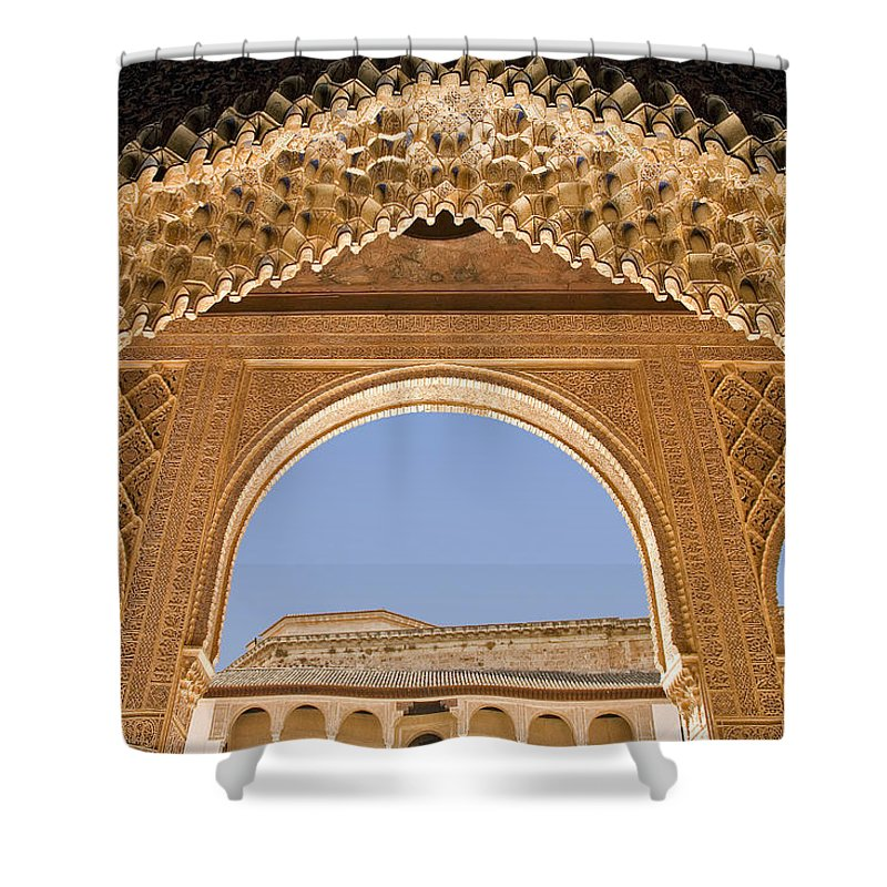 Architecture Shower Curtain featuring the photograph Decorative Moorish Architecture In The Nasrid Palaces At The Alhambra Granada Spain by Mal Bray