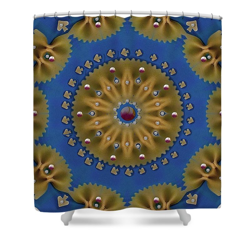 Pasta Shower Curtain featuring the mixed media Decorative Pasta Collage by Pepita Selles