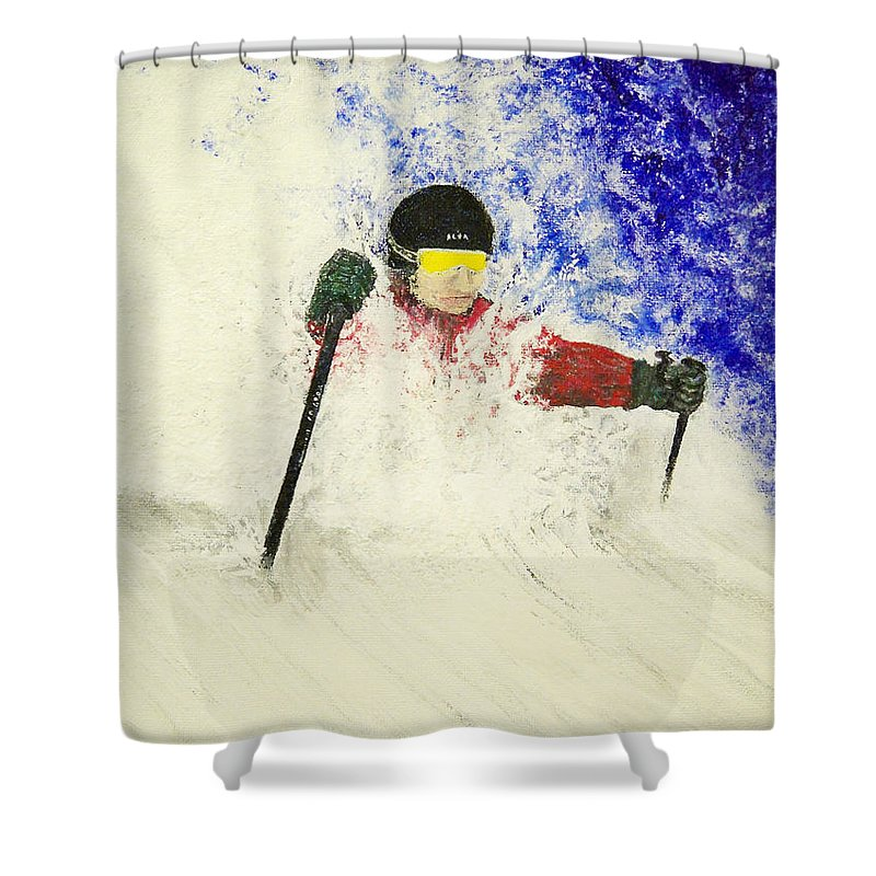 Utah Shower Curtain featuring the painting Deeeep by Michael Cuozzo