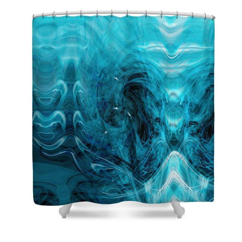 Digital Art Shower Curtain featuring the digital art Deep Blue Sea by Linda Sannuti