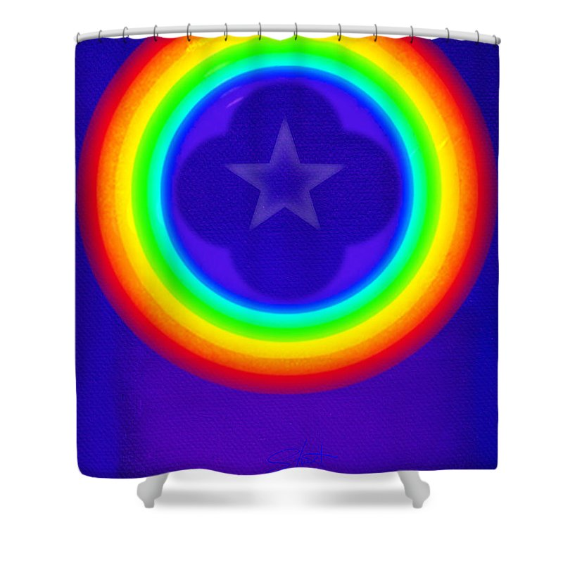 Abstract Shower Curtain featuring the painting Deep Blue See by Charles Stuart