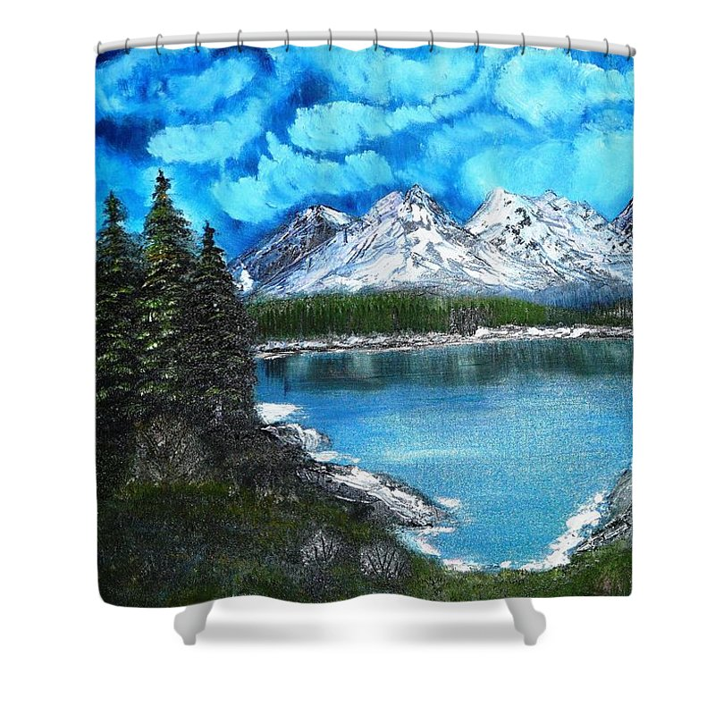 Landscape Shower Curtain featuring the painting Deep Mountain Lake by Valerie Ornstein
