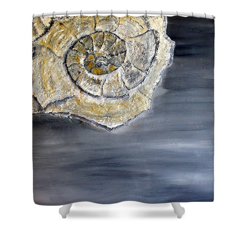 Still Life Paintings Shower Curtain featuring the painting Deep Ocean Seashell by Leslye Miller