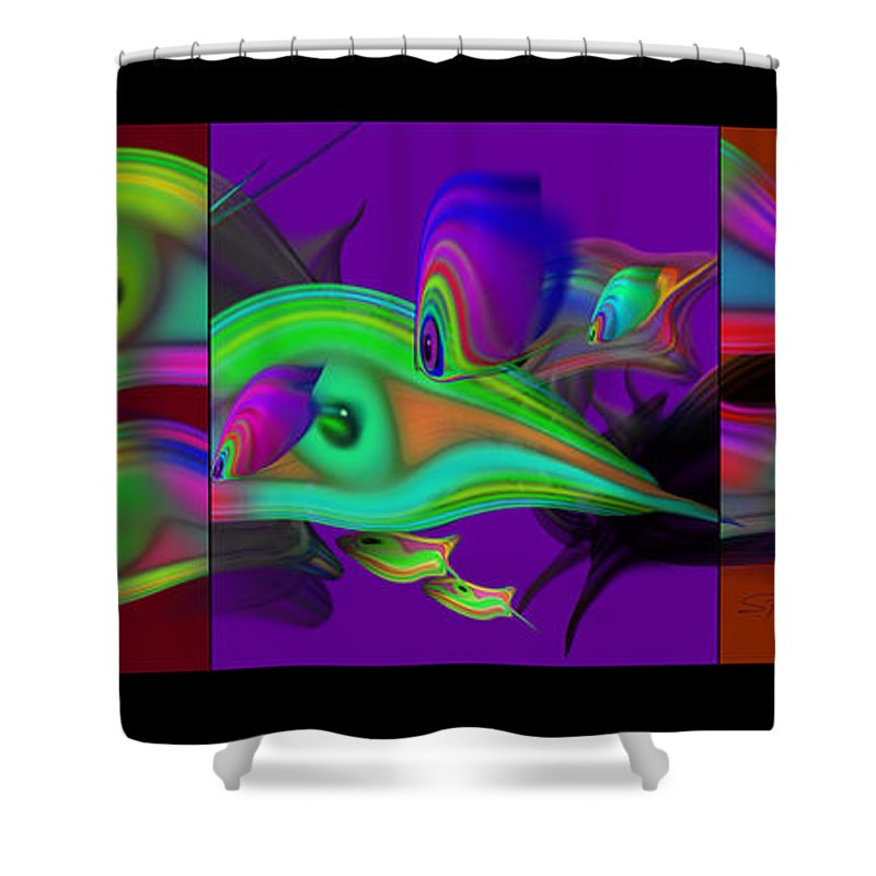 Edo Shower Curtain featuring the painting Deep Purple by Charles Stuart