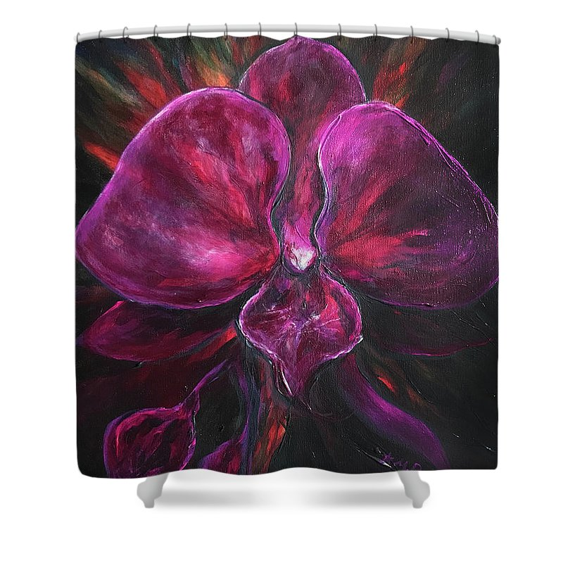 Purple Shower Curtain featuring the painting Deep Purple Orchid by Michelle Pier