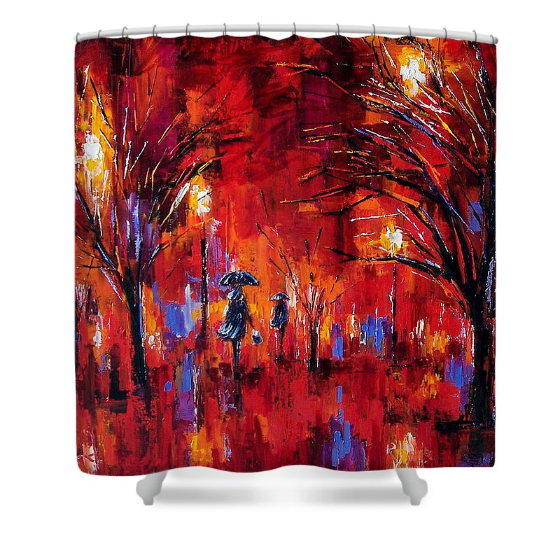 Umbrellas Shower Curtain featuring the painting Deep Red by Debra Hurd